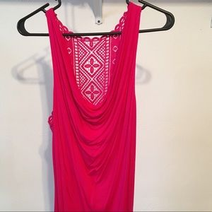 Hot Pink Tank Top with Lace Back